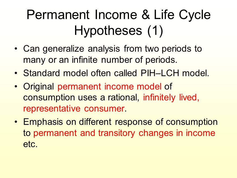 Permanent Income & Life Cycle Hypotheses (1)