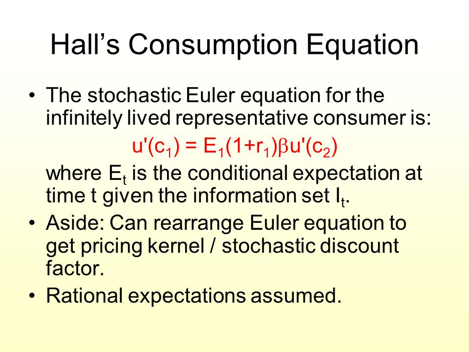 Hall's Consumption Equation