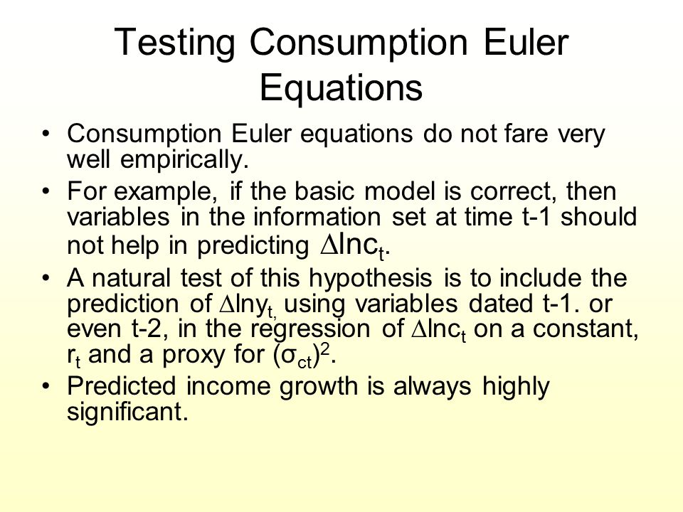 Testing Consumption Euler Equations