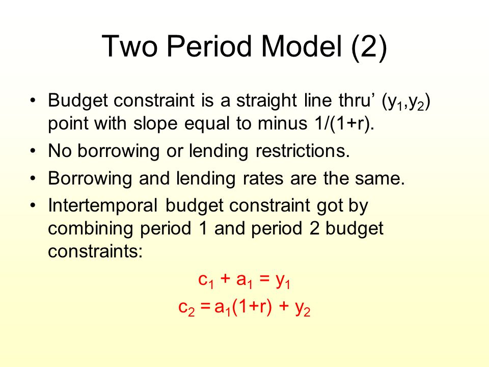 Two Period Model (2) Budget constraint is a straight line thru' (y1,y2) point with slope equal to minus 1/(1+r).