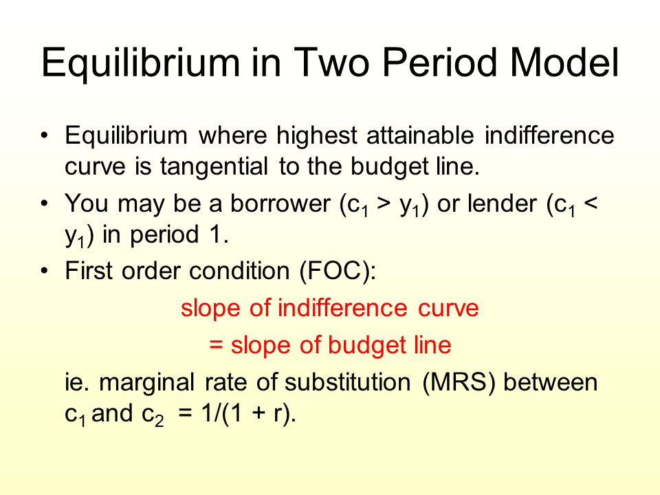 Equilibrium in Two Period Model
