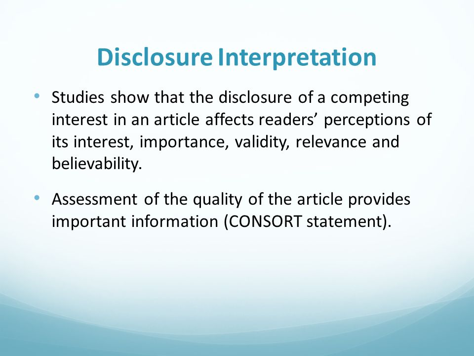 Disclosure Interpretation
