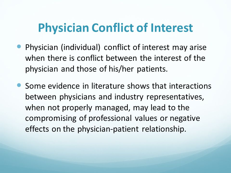 Physician Conflict of Interest