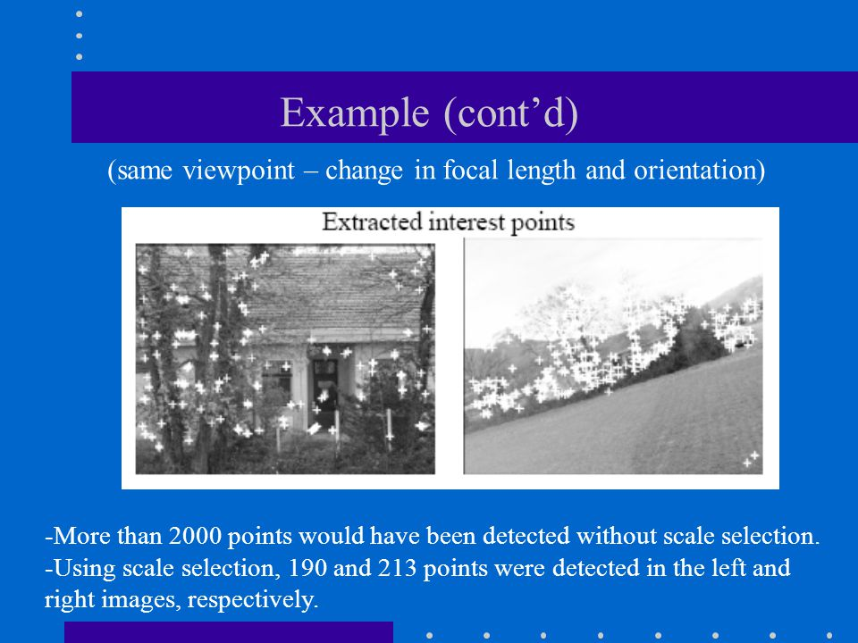 Example (cont'd) (same viewpoint – change in focal length and orientation) More than 2000 points would have been detected without scale selection.