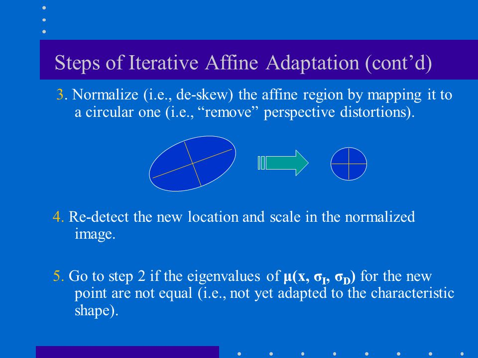 Steps of Iterative Affine Adaptation (cont'd)