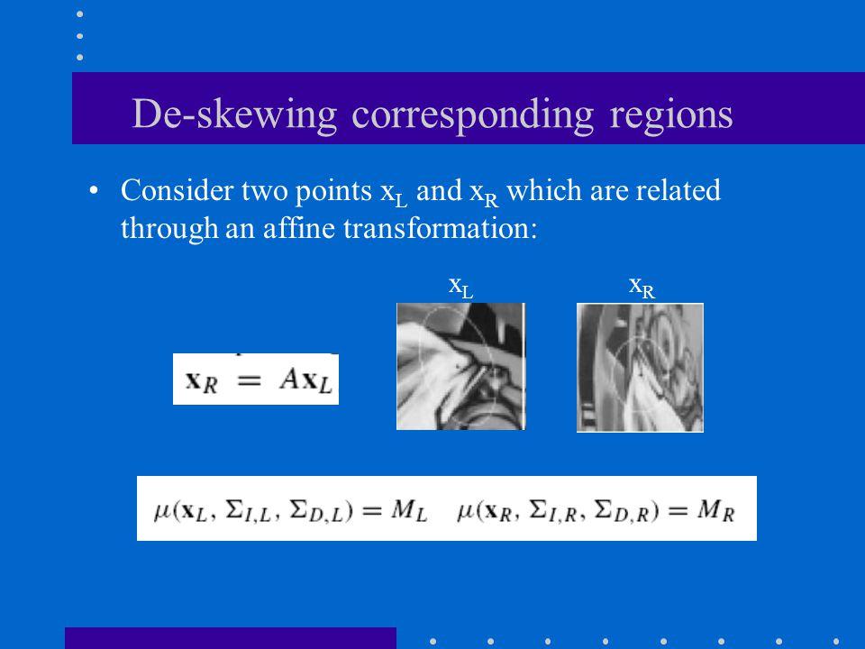 De-skewing corresponding regions
