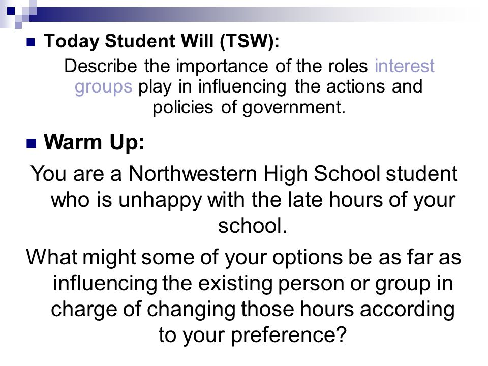 Today Student Will (TSW):