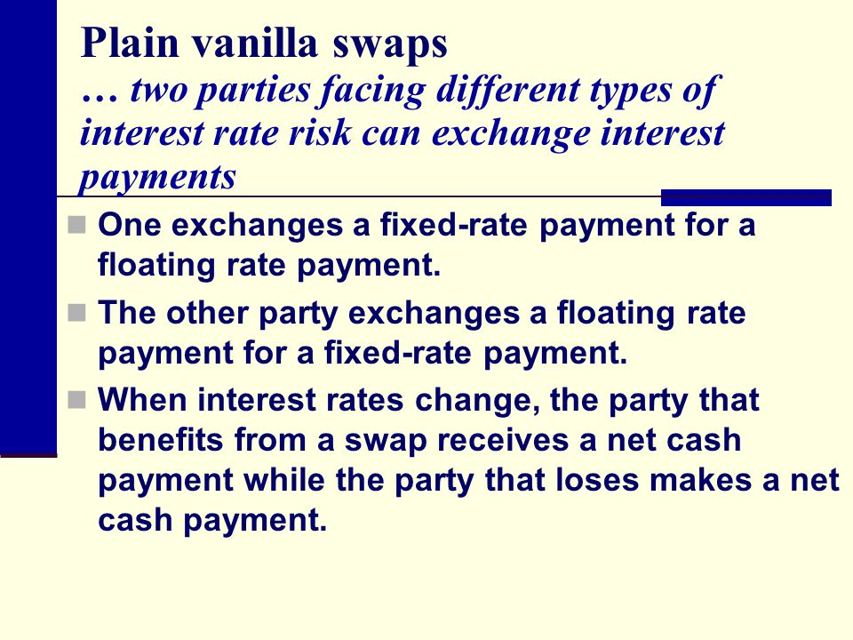 Plain vanilla swaps … two parties facing different types of interest rate risk can exchange interest payments