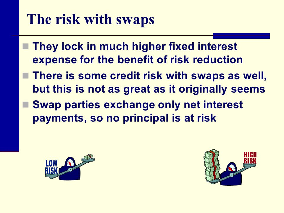 The risk with swaps They lock in much higher fixed interest expense for the benefit of risk reduction.
