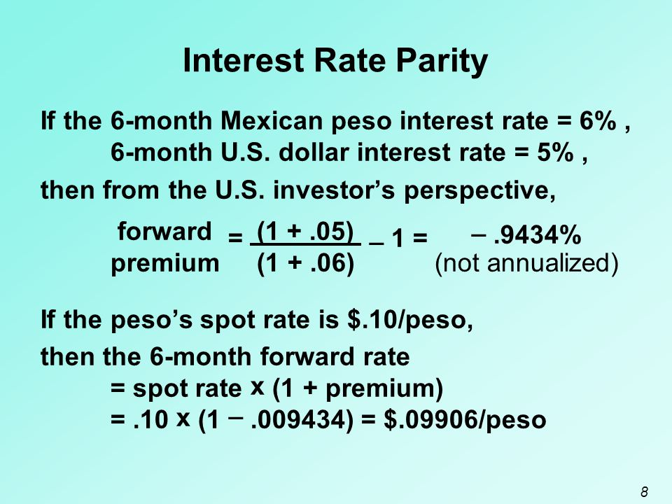 Interest Rate Parity If the 6-month Mexican peso interest rate = 6% ,