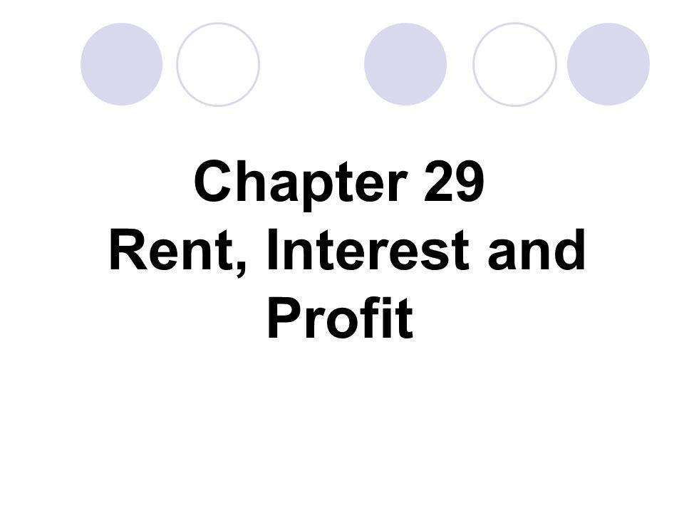 Chapter 29 Rent, Interest and Profit