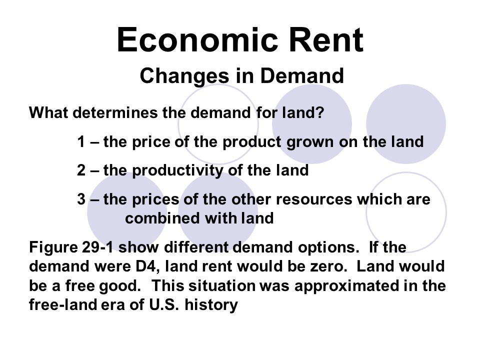 Economic Rent Changes in Demand What determines the demand for land