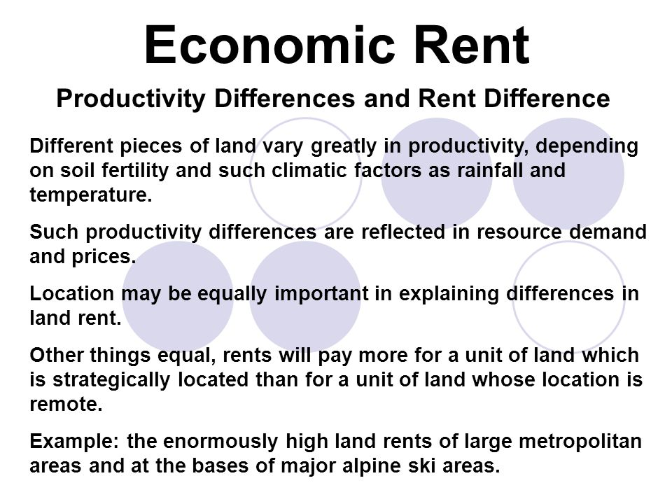 Productivity Differences and Rent Difference