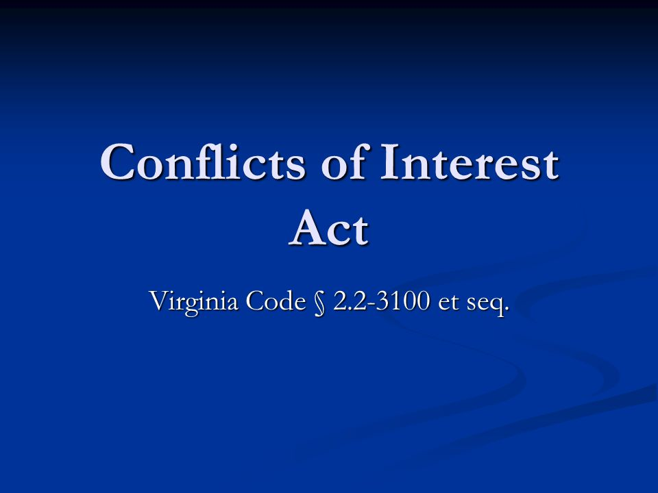 Conflicts of Interest Act