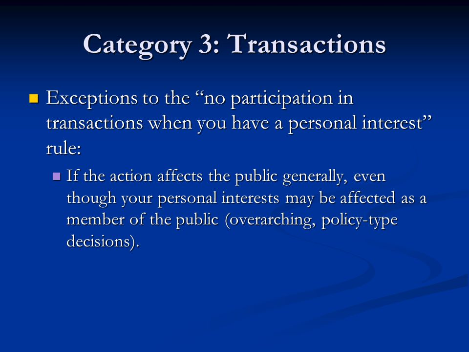 Category 3: Transactions