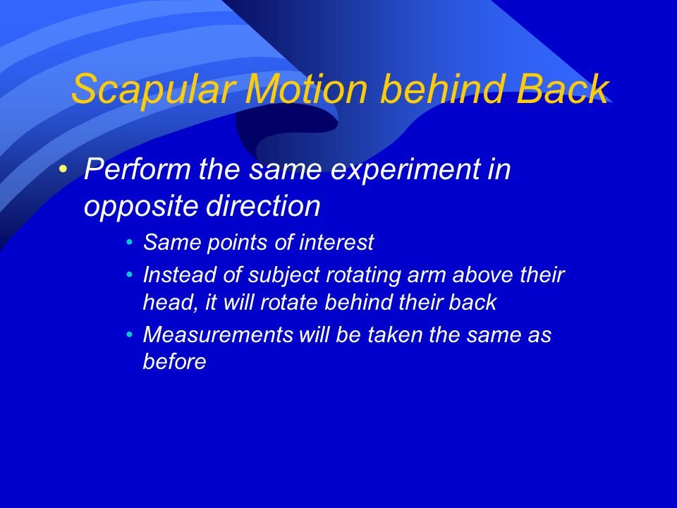 Scapular Motion behind Back