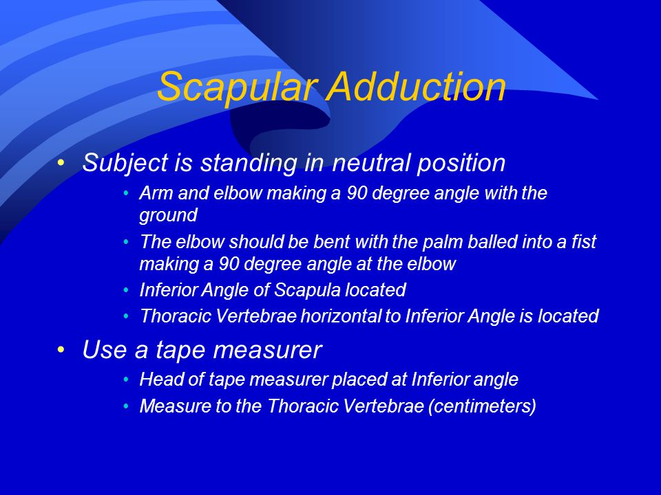 Scapular Adduction Subject is standing in neutral position