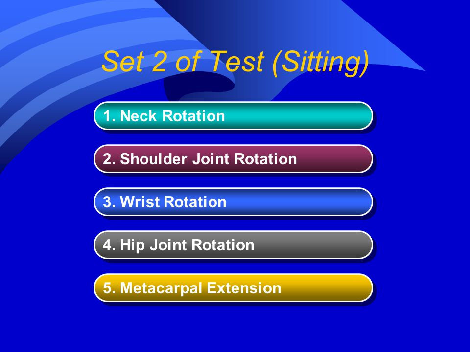 Set 2 of Test (Sitting) 1. Neck Rotation 2. Shoulder Joint Rotation