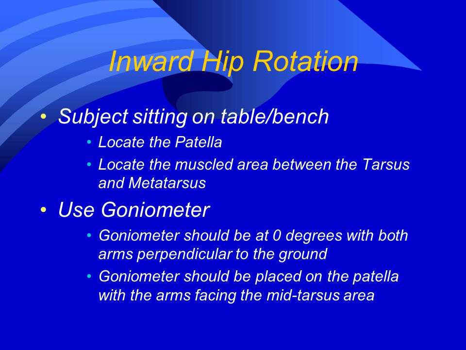 Inward Hip Rotation Subject sitting on table/bench Use Goniometer