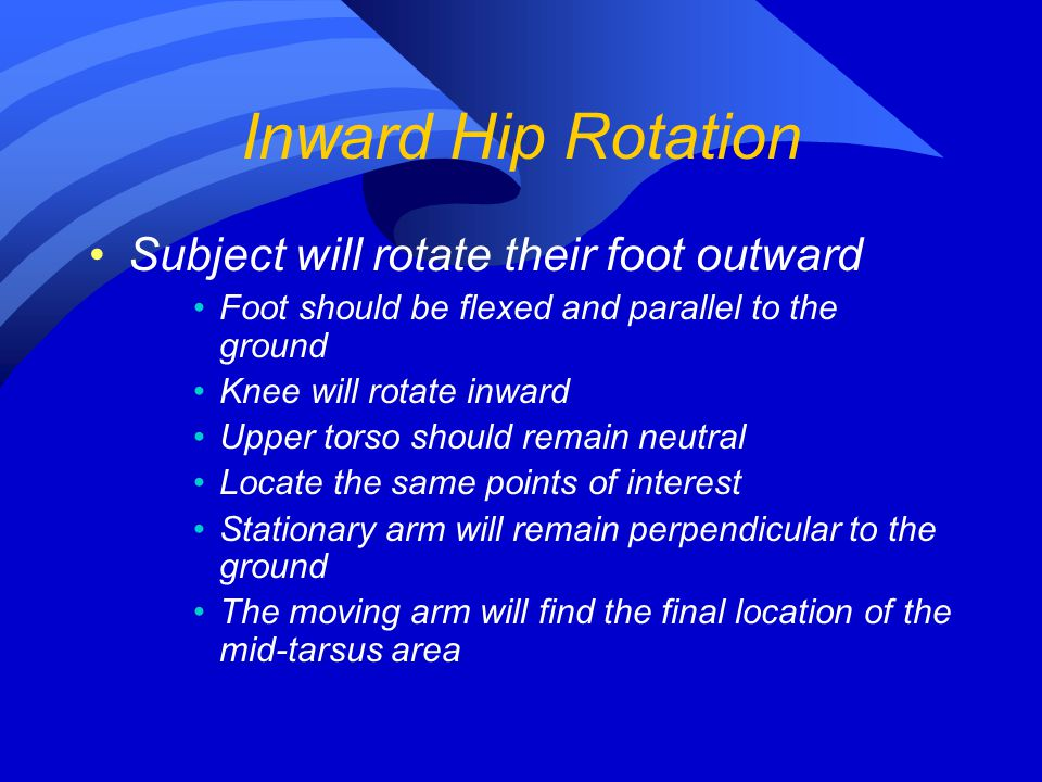 Inward Hip Rotation Subject will rotate their foot outward