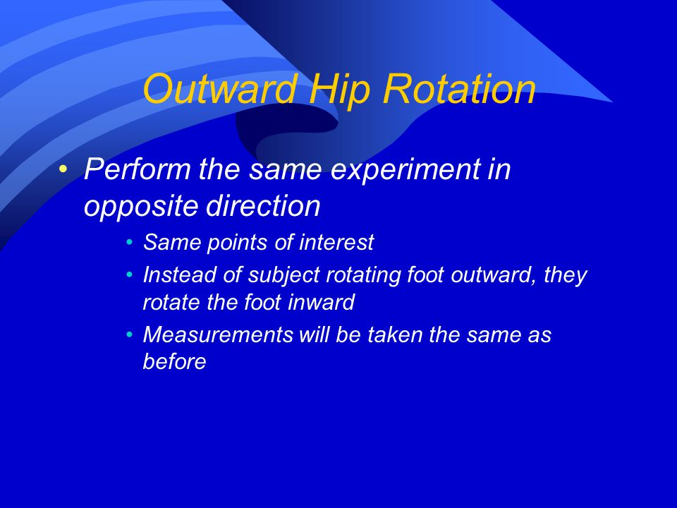 Outward Hip Rotation Perform the same experiment in opposite direction