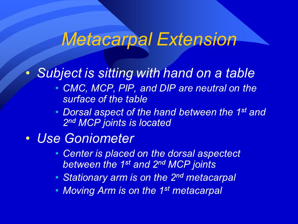 Metacarpal Extension Subject is sitting with hand on a table