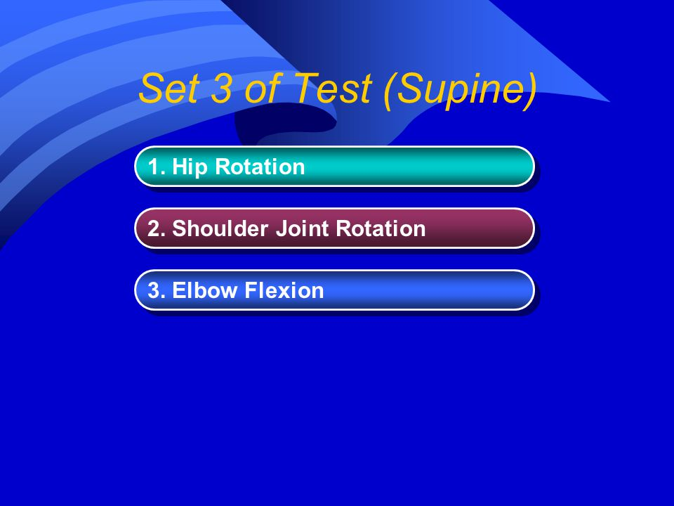 Set 3 of Test (Supine) 1. Hip Rotation 2. Shoulder Joint Rotation