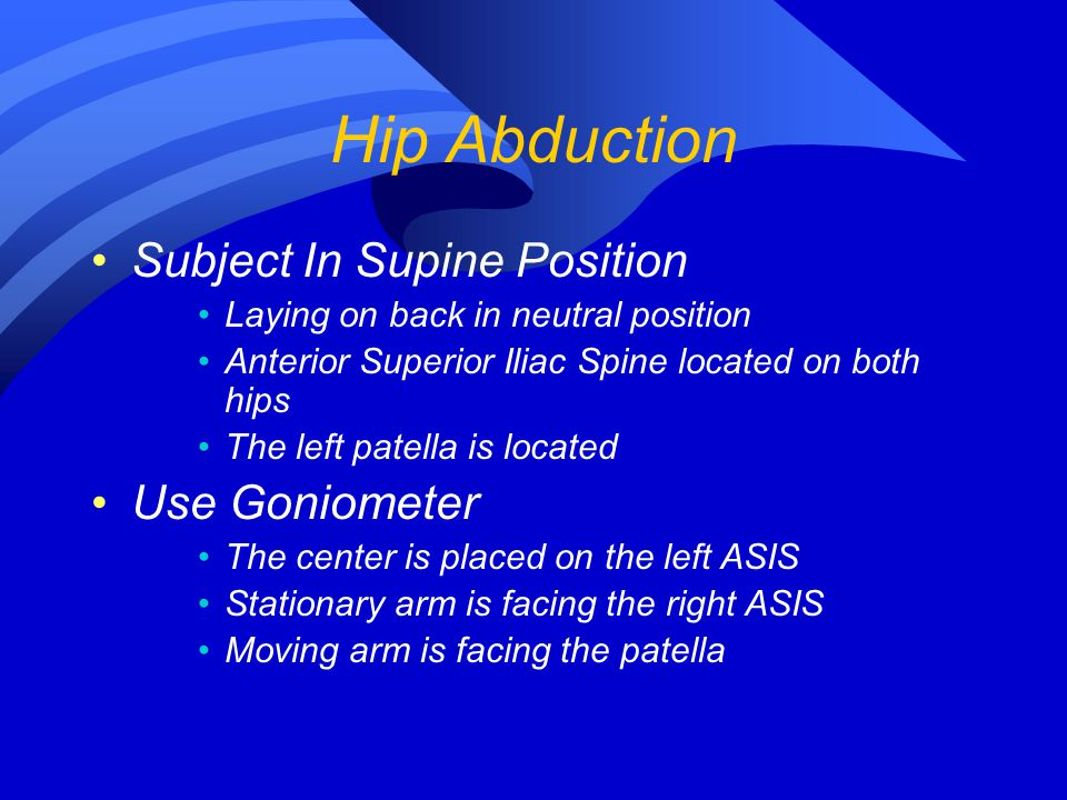 Hip Abduction Subject In Supine Position Use Goniometer