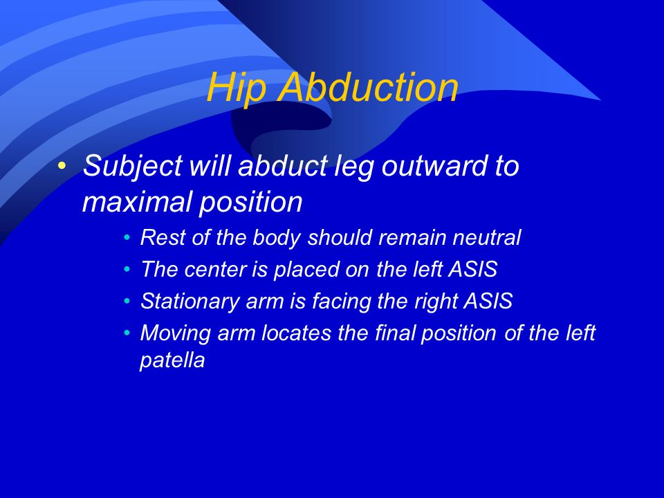 Hip Abduction Subject will abduct leg outward to maximal position