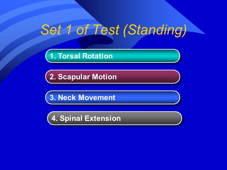 Set 1 of Test (Standing) 1. Torsal Rotation 2. Scapular Motion