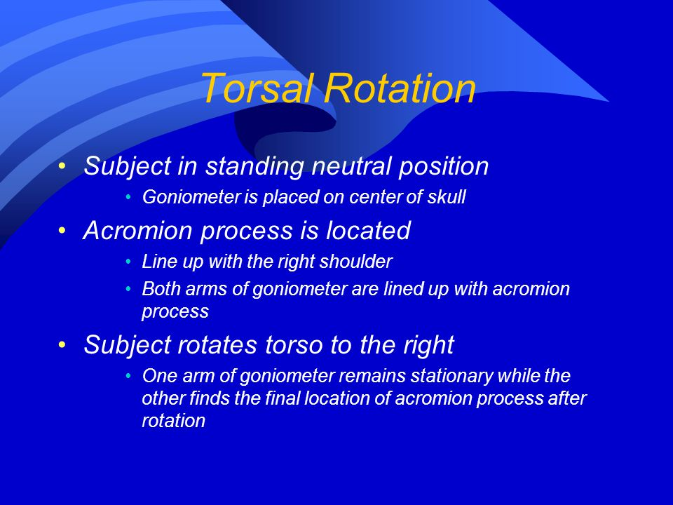 Torsal Rotation Subject in standing neutral position
