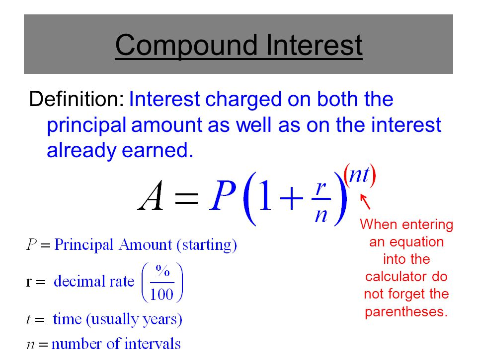 Compound Interest Definition: Interest charged on both the principal amount as well as on the interest already earned.