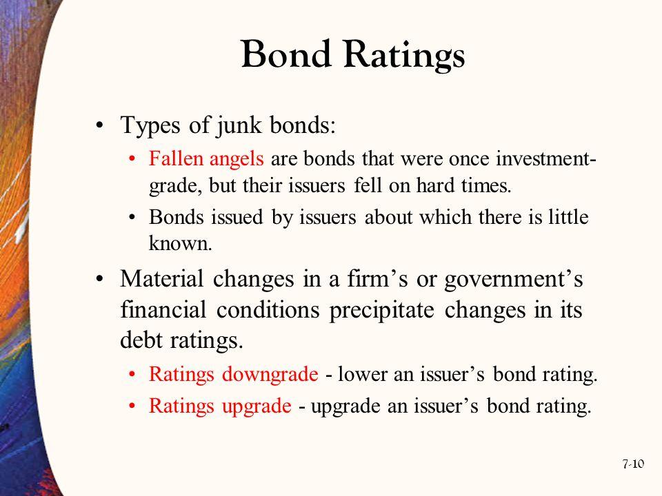 Bond Ratings Types of junk bonds: