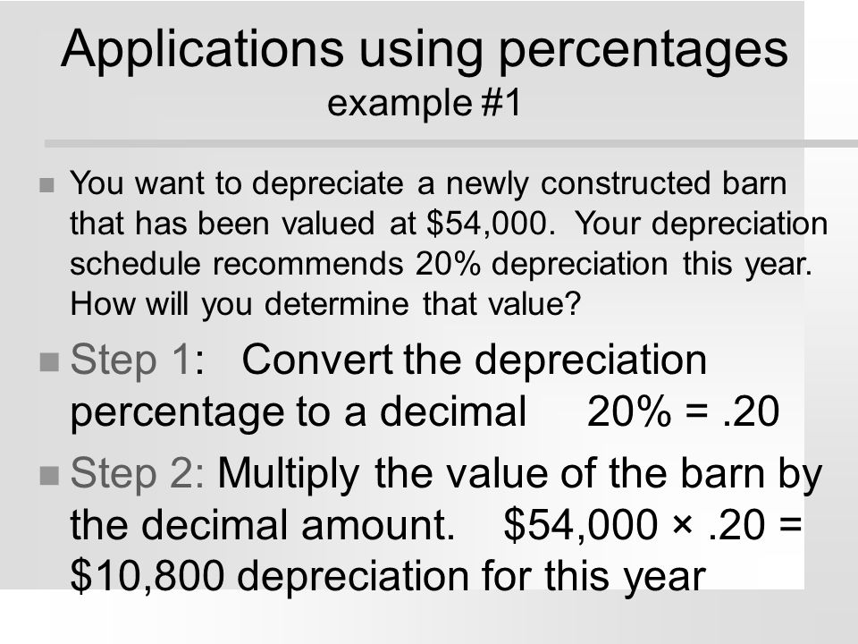 Applications using percentages example #1