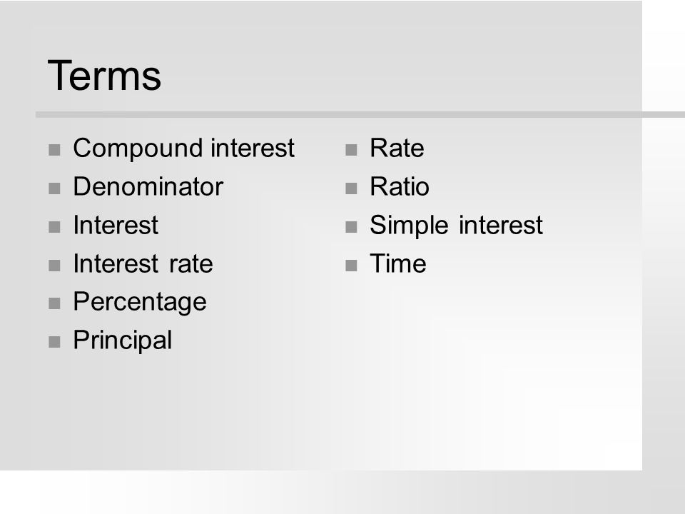 Terms Compound interest Denominator Interest Interest rate Percentage