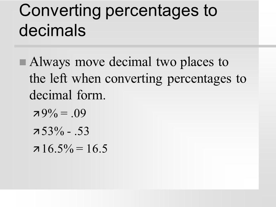 Converting percentages to decimals