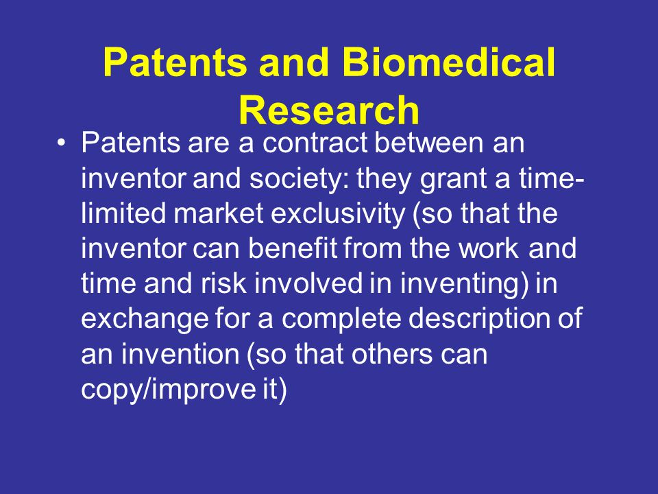 Patents and Biomedical Research