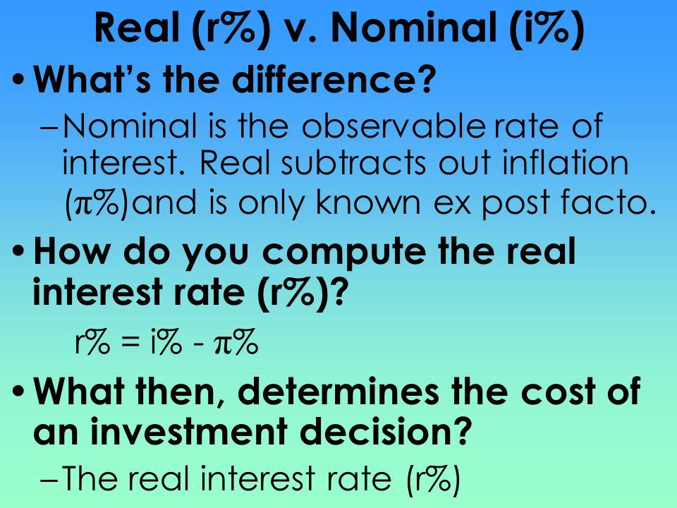 Real (r%) v. Nominal (i%)