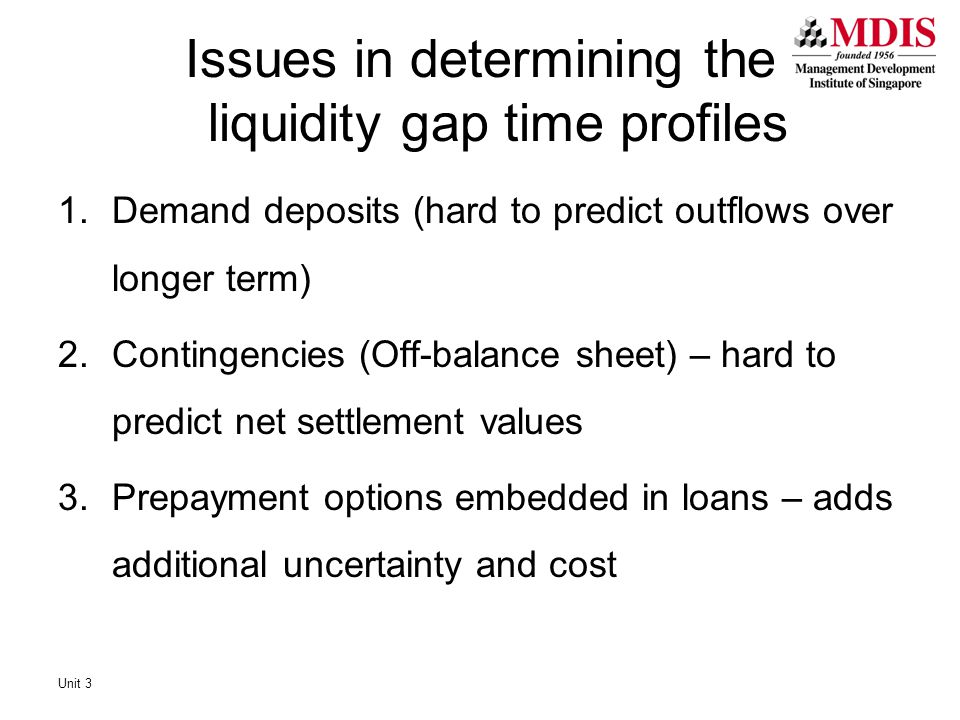 Issues in determining the liquidity gap time profiles