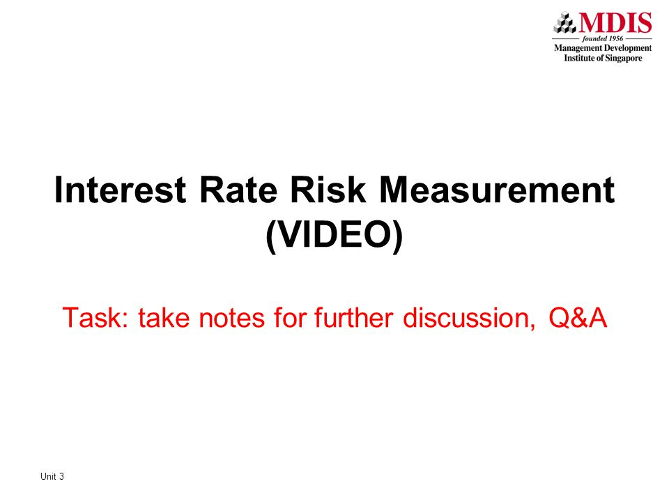 Interest Rate Risk Measurement