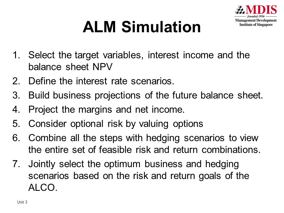 ALM Simulation Select the target variables, interest income and the balance sheet NPV. Define the interest rate scenarios.