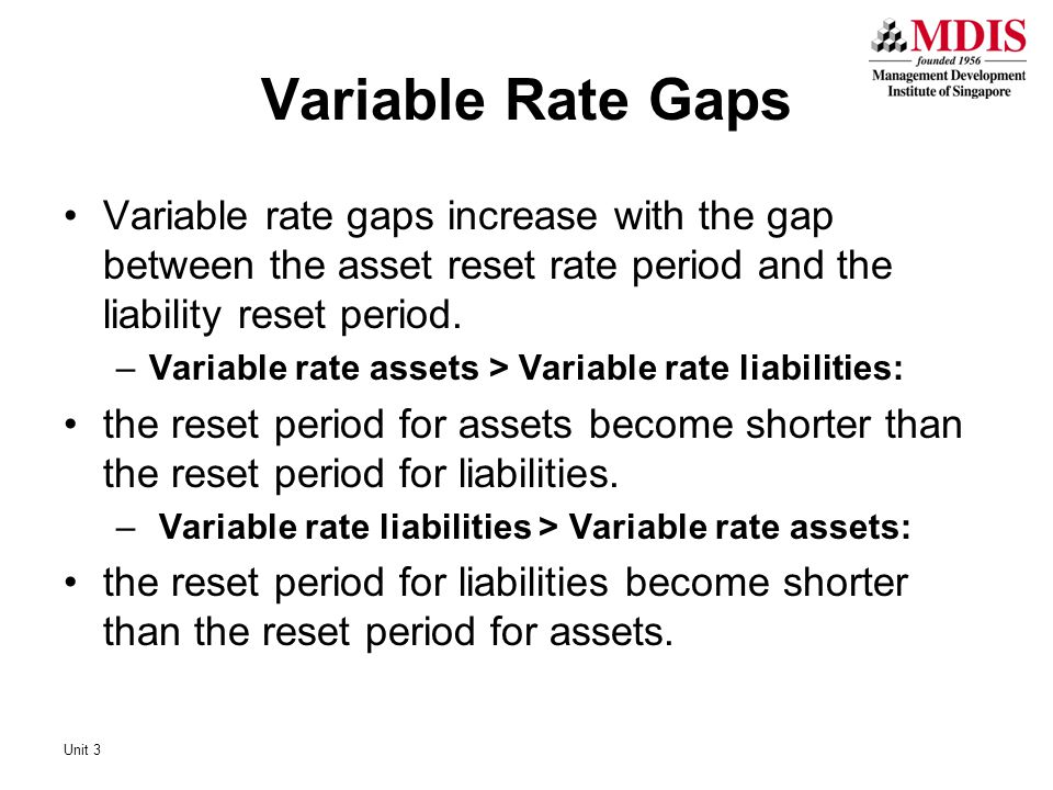 Variable Rate Gaps Variable rate gaps increase with the gap between the asset reset rate period and the liability reset period.