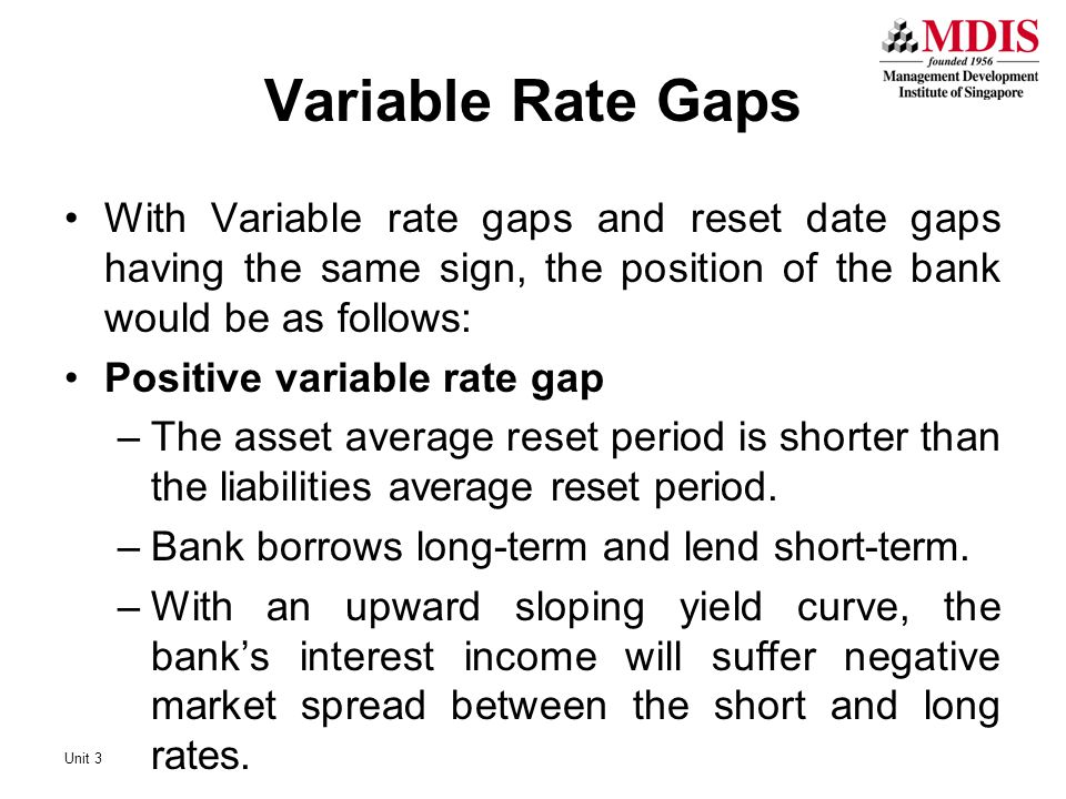 Variable Rate Gaps With Variable rate gaps and reset date gaps having the same sign, the position of the bank would be as follows: