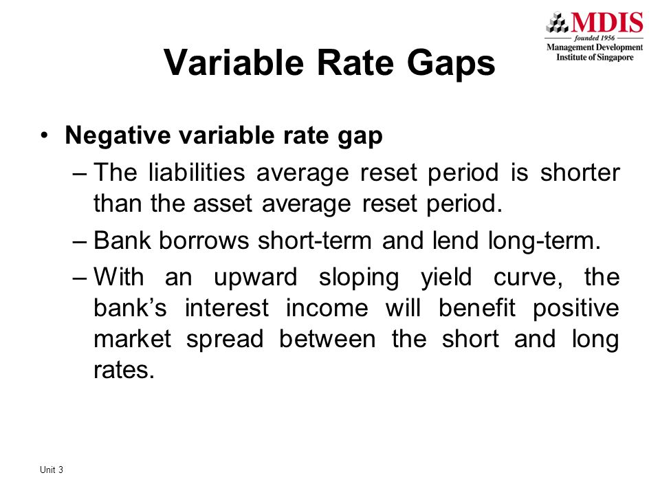 Variable Rate Gaps Negative variable rate gap