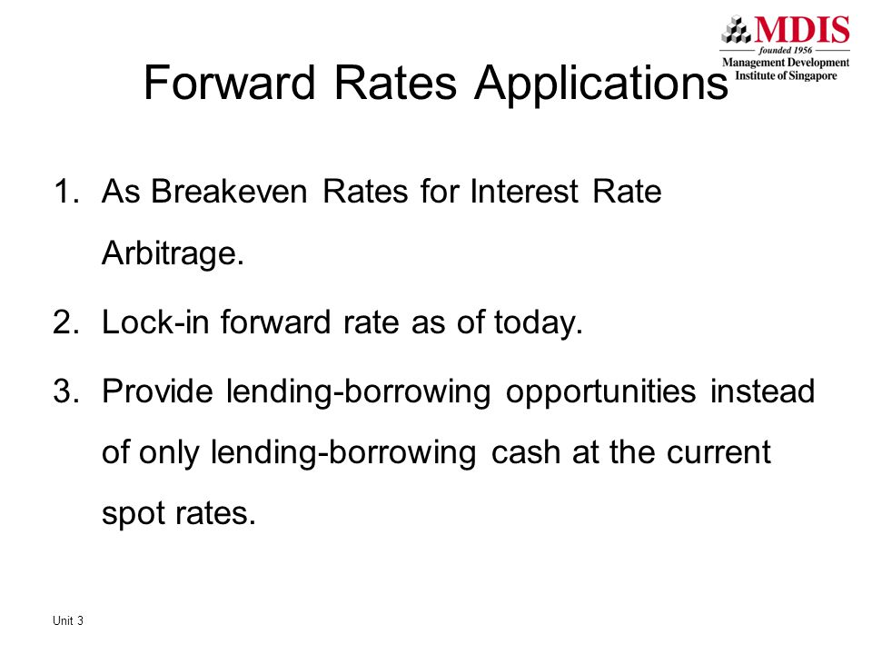 Forward Rates Applications