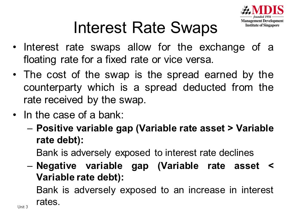 Interest Rate Swaps Interest rate swaps allow for the exchange of a floating rate for a fixed rate or vice versa.