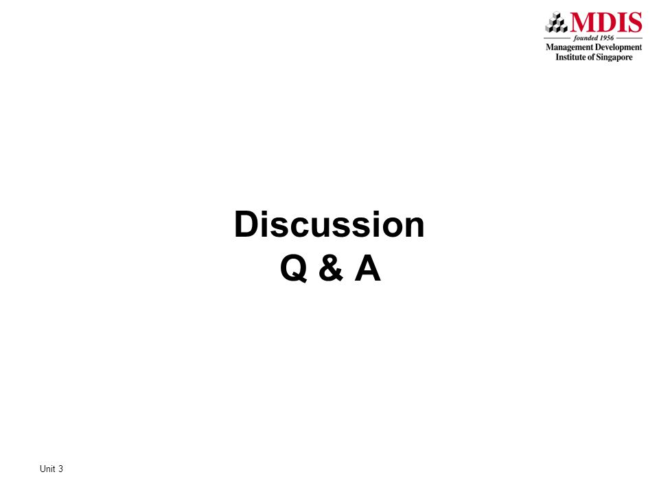 Discussion Q & A Unit 3