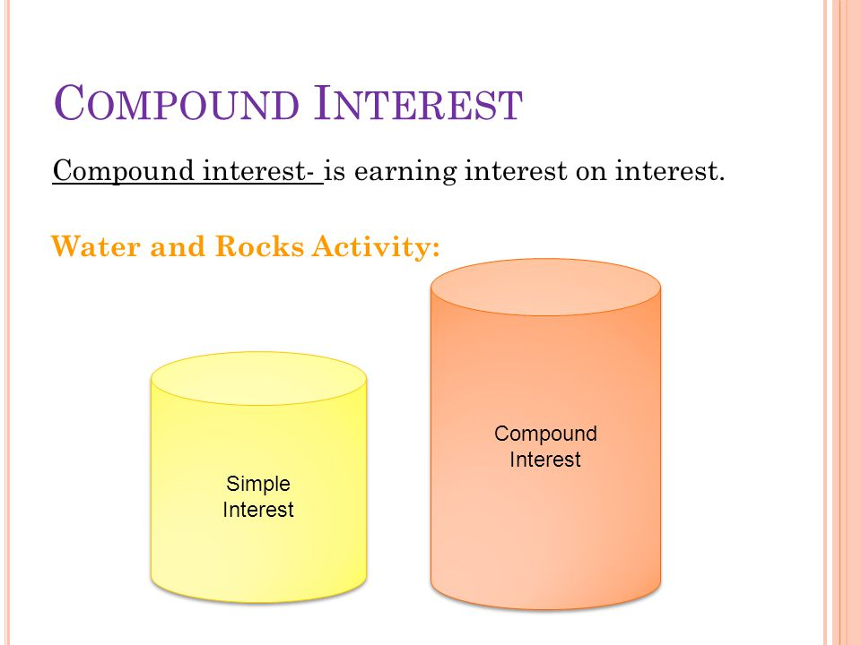 Compound Interest Compound interest- is earning interest on interest. Water and Rocks Activity: Compound interest is earning interest on interest.