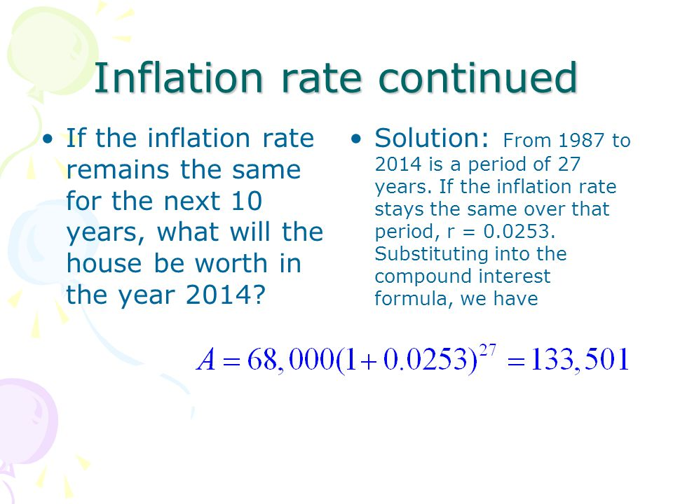 Inflation rate continued