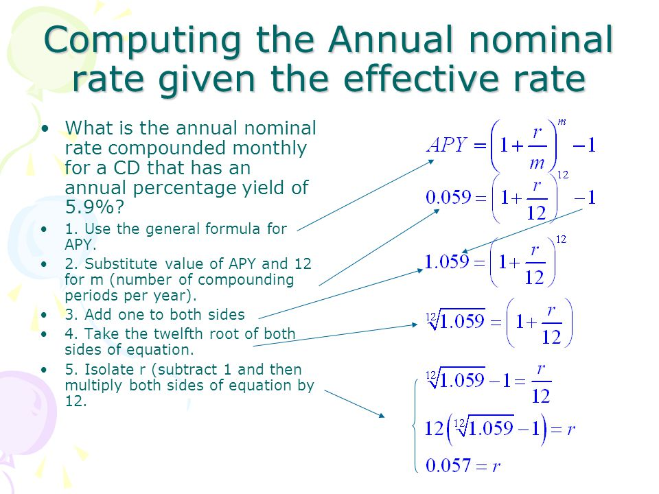 Computing the Annual nominal rate given the effective rate
